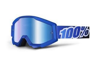 100% Strata MX Goggles Mirror Lens Blue Lagoon/Blue
