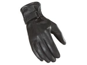 Power Trip Jet Black Lined Womens Leather Gloves Black XS