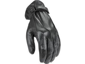 Power Trip Jet Black Womens Leather Gloves Perf Black SM