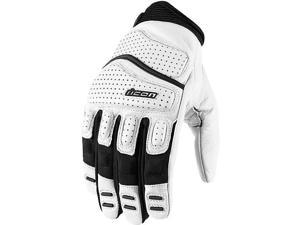 Icon Superduty 2 Leather Gloves White MD