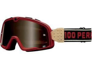 100% Barstow Classic MX/Offroad Goggles Red/Black/Tan One Size