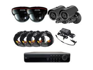 4ch DVR Package - H.264 Elite DVR, dome and IR camera combo power supply and Cables 3G phone support