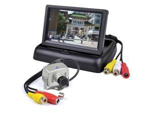"4.3"" Folding Color LCD Monitor Surveillance Kit w/Wired Video Camera, EV-818CB"
