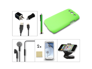 Bundle 7in1 for Samsung Galaxy III S3 i9300 Green Case Charger Car Mount Holder