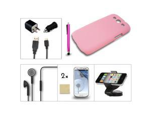 7in1 Pink Case Charger Earphone Accessory Bundle For Samsung Galaxy S3 III i9300