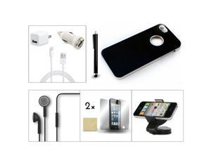 Bundle 9in1 Accessory for iPhone 5 5G Black Case +Holder +Earphone +Charger +Pen