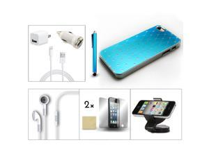 Bundle 9in1 Accessory for iPhone 5 Blue Case +Earphone +Charger +Holder +Stylus