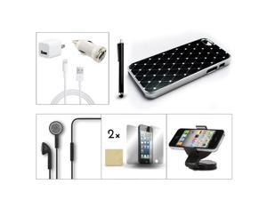 Bundle 9in1 Accessory for iPhone 5 Black Case +Film +Earphone +Holder +Charger