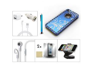 Bundle 9in1 Accessory for iPhone 5 Blue Case +Film +Earphone +Holder +Charger