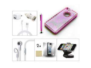 Bundle 9in1 Accessory for iPhone 5 Pink Case +Stylus +Film +Charger +Car Holder