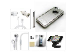 Bundle 9in1 Accessory for iPhone 5 Sliver Case +Earphone +Holder +Charger +Film