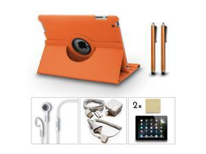 Bundle 9in1 Accessories Set for iPad 3 2 Case + Charger + Earphone + Screen Film + Stylus Pen Orange Color