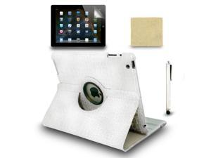 White Rotating Magnetic Case for the New iPad 4 3 iPad 2 + Stylus Pen + Film