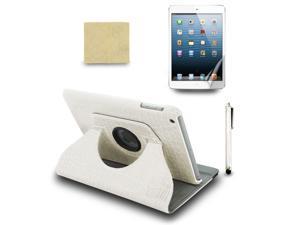 For Apple iPad Mini 360 Rotating PU Leather Case Cover +Stylus Pen +Film White