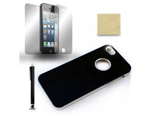 For iPhone 5 5G Black Chrome Protective Case Cover + Screen Film + Stylus Pen