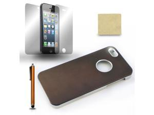For iPhone 5 5G Brown Chrome Protective Case Cover + Screen Film + Stylus Pen