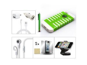 Bundle 9in1 Accessory for iPhone 5 White Green Case +Holder +Charger +Film +Pen