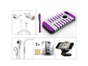 Bundle 9in1 Accessory for iPhone 5 Purple White Case +Holder +Earphone +Charger