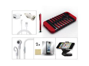 Bundle 9in1 Accessory for iPhone 5 Red Black Case +Pen +Earphone +Charger +Film