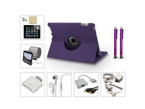 Bundle 13in1 Accessory for iPad 3 2 Case Charger Card Reader Stylus HDMI Purple