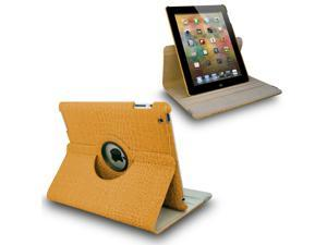 Yellow Crocodile 360° Swivel Smart Leather Case for iPad 2 3 the New iPad 4 4th