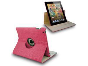 Hot Pink Crocodile 360 Swivel Smart Leather Case for iPad 2 3 the New iPad 4 4th