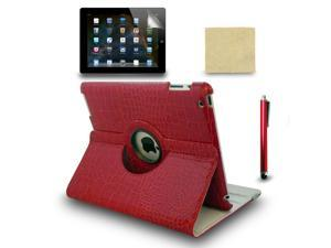 Red Rotating Crocodile Case for the New iPad 4 3 iPad 2 + Stylus Pen + Film
