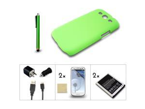 Bundle 7in1 Accessory for Samsung Galaxy III S3 i9300 Green Case Battery Charger
