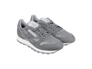 Reebok Classic Leather Reflect Shark Flat Grey White Black Mens Lace Up Sneakers