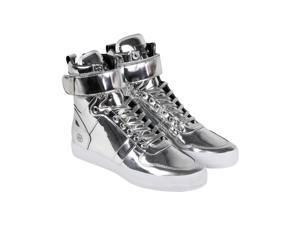 Radii Vertex Liquid Silver Leather Mens High Top Sneakers