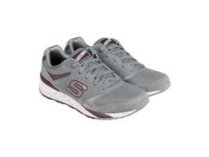 Skechers OG 90 Gray Burgandy Mens Lace Up Sneakers