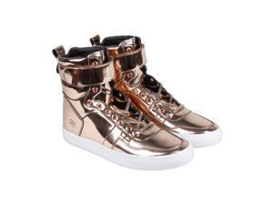 Radii Vertex Liquid Rose Gold Leather Mens High Top Sneakers
