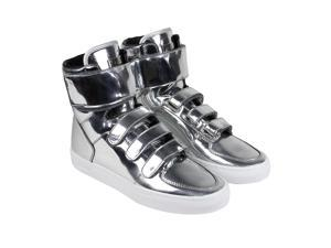 Radii Point Liquid Silver Leather Mens High Top Sneakers