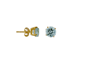 Round Blue Topaz Crystal Stud  Sterling Silver Gold Plated Earrings