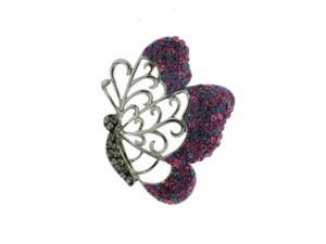 Butterfly Sterling Silver Pink & Purple Open Crystal  Pendant With Chain