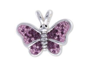 Sterling Silver Pink & Purple Crystal Butterfly Pendant With Chain
