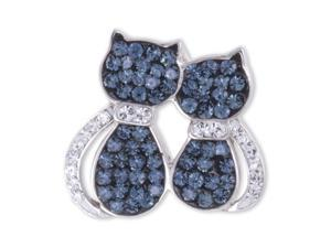 Cats Sitting Sterling Silver Dark Blue Crystal Charm Pendant