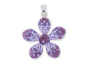Sterling Silver Multi Color Purple Flower Charm Pendant With Chain
