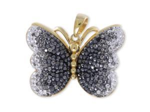 Butterfly Ombre Black-Grey-White Sterling Silver Gold Plated Pendant