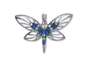 Sterling Silver Blue & Green Crystal Open Butterfly Wings Pendant