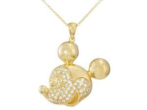 Disney Mickey Mouse Head Silver Yellow Plated Large Cz Necklace