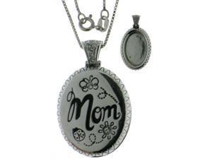 "Sterling SIlver Rhodium Plated Mom Locket w/Crystal Stones 18"" w/Chain"