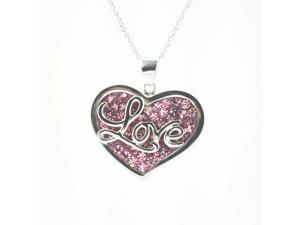 Love Heart Sterling Silver Pink Enameled Crystal Pendant With Chain