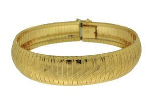 "Sterling Silver Yellow Plated 7.5"" Omega Swirls Bracelet"