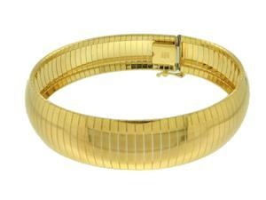 """Sterling Silver Yellow Plated 7.5"""" Diamond/Cut Omega Bracelet"""
