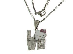 Hello Kitty Stainless Steel  LOVE Clear Crystals Pendant With Chain