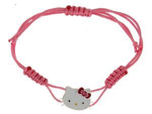 Sanrio Hello Kitty Silver Tone  W/Pink Bow Woven Bracelet