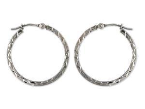 14k White Gold Diamond Cut Square Tubbing Hoop Earrings