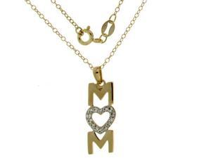 """Sterling Silver Gold Plated Crystal Heart """"MOM"""" Pendant With Chain"""