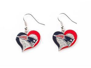 New England Patriots Swirl Heart Earrings